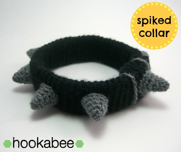 crocheted spiked dog collar by hookabee