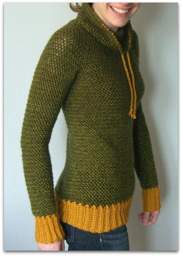 Crochet sweater pattern by KT and Squid, sweater crocheted by Megan Barclay of hookabee crochet