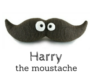 Harry the moustache crochet amigurumi pattern by @hookabee