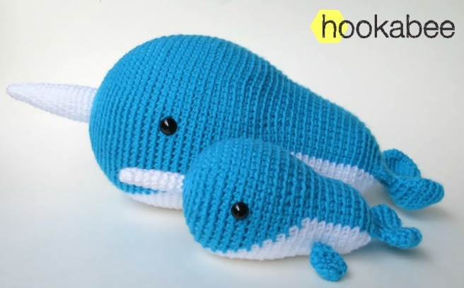 Little and Big Walden the Narwhal amigurumi crochet pattern by @hookabee crochet (www.hookabee.com) #crochet #amigurumi #narwhal #whale #pattern
