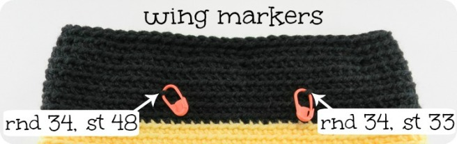 Example of use of stitch markers to locate positioning of pieces when making amigurumi
