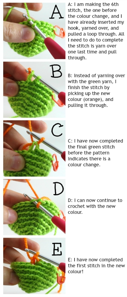 Colour change in amigurumi photo tutorial by @hookabee