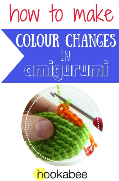 How to make colour changes in amigurumi by @hookabee