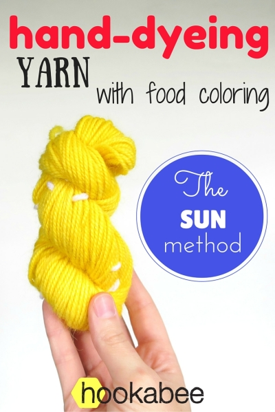 hand-dyeing yarn with food colouring using the sun by @hookabee