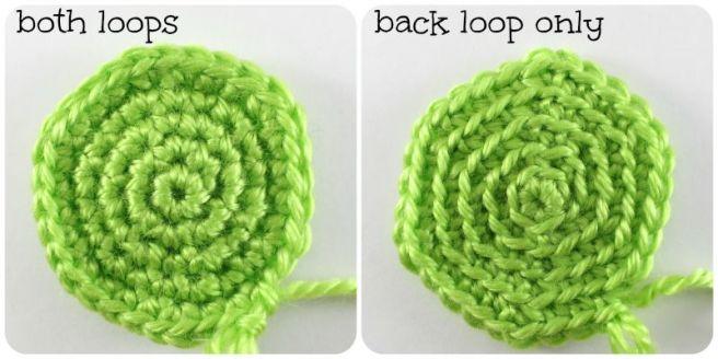 both loops vs. BLO appearance in amigurumi
