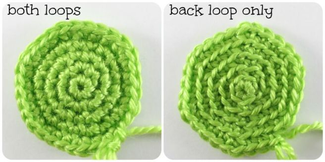 both loops vs. BLO appearance in amigurumi