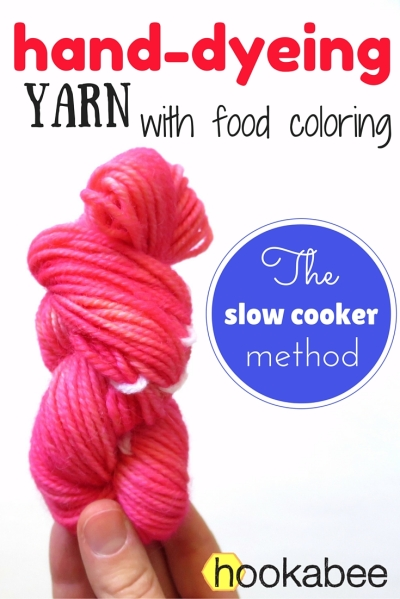 hand-dyeing yarn with food colouring using a slow cooker (crock-pot) by @hookabee