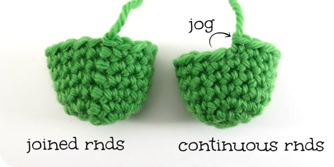 Joined rounds vs. Continuous rounds in amigurumi by hookabee