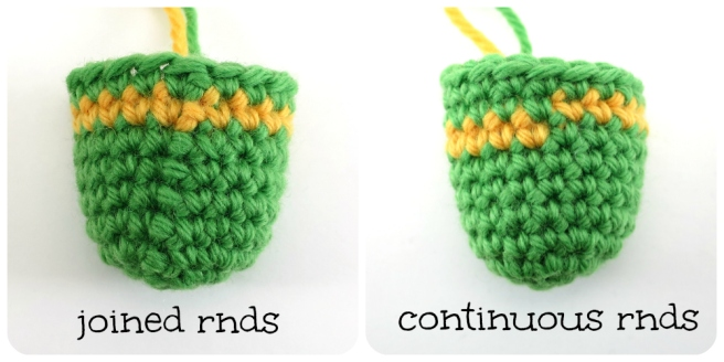Stripes in joined rounds vs. Continuous rounds in amigurumi by hookabee