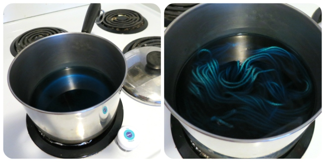 stove top hand dyeing of yarn with food coloring by hookabee